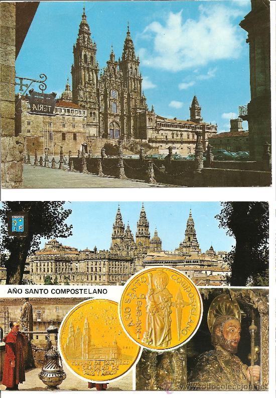 DOS POSTALES DE SANTIAGO DE COMPOSTELA (Postales - España - Galicia Moderna (desde 1940))
