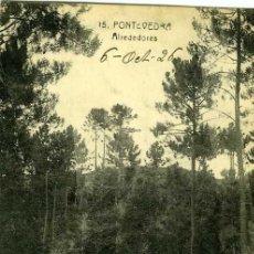 Postales: POSTAL PONTEVEDRA ALREDEDORES GENTE CON UN CARRO. Lote 29030177