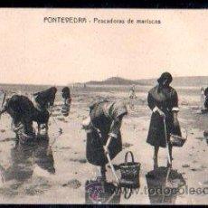 Postales: TARJETA POSTAL DE PONTEVEDRA - PESCADORES DE MARISCOS. CLICHE PINTOS. Lote 30063778