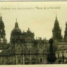 Postales: POSTAL FOTOGRAFICA LA CORUÑA FACHADA DE LA AZABACHERIA Y TORRE DE LA CATEDRAL. Lote 30102727