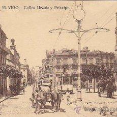 Postales: AÑO 1930: VIGO: CALLES URZAIZ Y PRINCIPE. BONITA TARJETA POSTAL NUM. 43 DE GRAFOS CIRCULADA A INGLAT. Lote 30183548