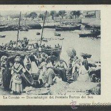 Postales: LA CORUÑA - 47- DESEMBARQUE DEL PESCADO BARCAS DEL SON - FOT. AVRILLON -LIB- LINO PEREZ- (8606) . Lote 30217262