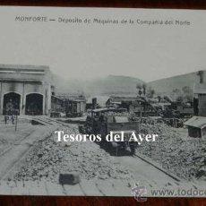 Postales: ANTIGUA POSTAL DE MONFORTE DE LEMOS (LUGO) DEPOSITO DE MAQUINAS DE LA COMPAÑIA DEL NORTE, SIN CIRCUL. Lote 39514747