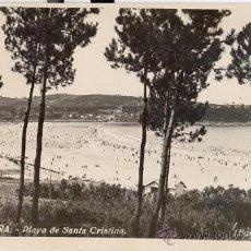 Postales: POSTAL FOTOGRAFICA DE LA PLAYA DE SANTA CRISTINA DE LA CORUÑA - FOTO CANCELO - IMPECABLE AÑOS 50. Lote 30533548