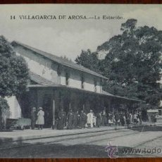 Postales: ANTIGUA POSTAL DE VILLAGARCIA DE AROSA (PONTEVEDRA) LA ESTACION - 14 BAZAR EL PRECIO FIJO - SIN CIRC. Lote 30568454