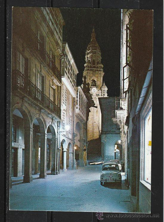 2070 SANTIAGO DE COMPOSTELA. RUA DEL VILLAR. NOCTURNA (Postales - España - Galicia Moderna (desde 1940))