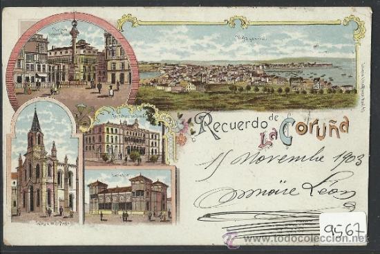 RECUERDO DE LA CORUÑA - LIBRERIA LINO PEREZ - (9567) (Postales - España - Galicia Antigua (hasta 1939))