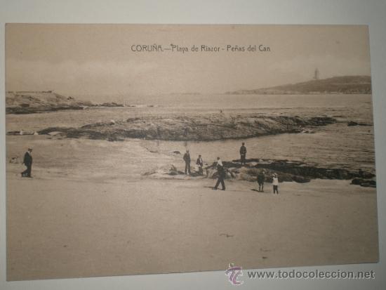 CORUÑA.- PLAYA DE RIAZOR - PEÑAS DEL CAN . TARJETA POSTAL SIN CIRCULAR. (Postales - España - Galicia Antigua (hasta 1939))
