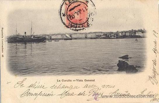 RRR POSTAL 1900 LA CORUÑA - GALICIA - PAPELERIA LOMBARDERO - VISTA GENERAL (Postales - España - Galicia Antigua (hasta 1939))