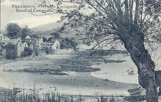 POSTAL DE LA PLAYA DE CORTEGADA EN VILLAGARCIA - PONTEVEDRA - AÑOS 20 - GRAFOS (Postales - España - Galicia Antigua (hasta 1939))