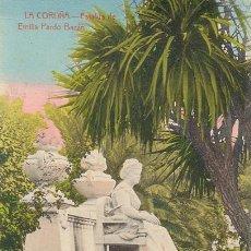Postales: POSTAL AÑOS 10 COLOREADA DE LA CORUÑA - ENRIQUETA COMAS - ESTATUA DE EMILIA PARDO BAZAN. Lote 31628546
