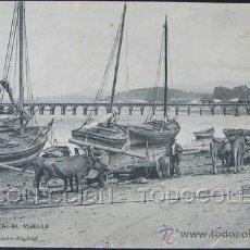Postales: POSTAL VILLAGARCIA ( DE AROUSA ) PONTEVEDRA EL MUELLE . HAUSER Y MENET CA AÑO 1905.. Lote 31920840