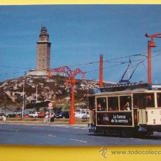 Cartes Postales: POSTAL. LA CORUÑA. AÑOS 90. TRANVÍA POR LA TORRE DE HÉRCULES, CERVEZA 1906. 476. . Lote 32232227