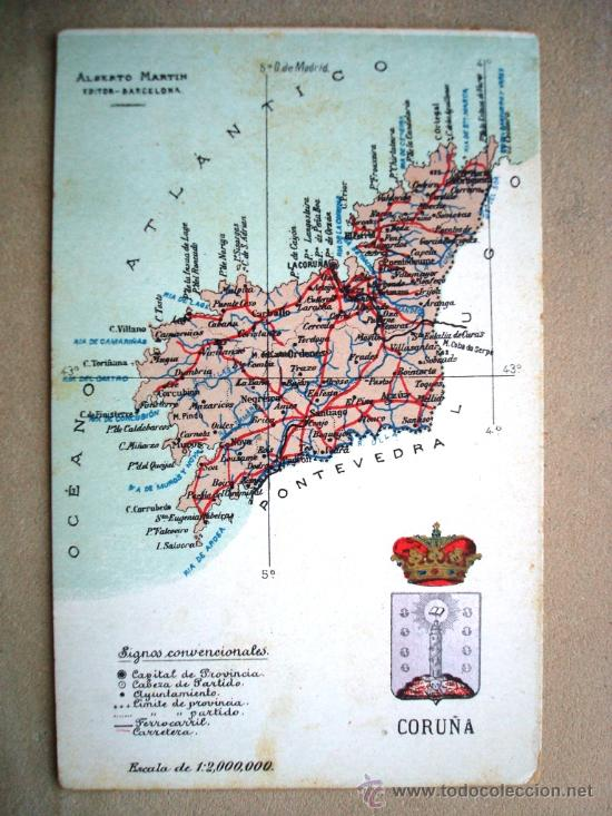 POSTAL ANTIGUA GALICIA CORUÑA. MAPA ALBERTO MARTÍN. DORSO DIVIDIDO. (Postales - España - Galicia Antigua (hasta 1939))