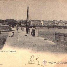 Postales: EXCEPCIONAL POSTAL DEL MUELLE Y LA MARINA - LA CORUÑA - HAUSER Y MENET. Lote 33236638