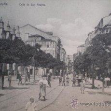 Postales: POSTAL DE LA CALLE SAN ANDRES DE LA CORUÑA - LIBRERIA DE LINO PEREZ. Lote 36052780