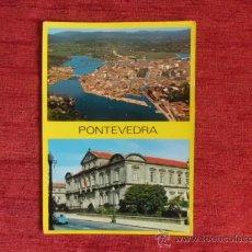 Postales: POSTAL PONTEVEDRANº 28 PALACIO DE LA DIPUTACION Y VISTA AEREA, ESCRITA CON SELLO A-249. Lote 36436060