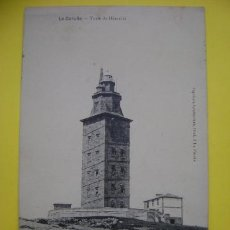 Postales: POSTAL CIRCULADA CORUÑA PAPELERÍA LOMBARDERO, TORRE DE HÉRCULES (FECHADA 1908). Lote 37043656