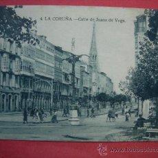 Postales: LA CORUÑA. CALLE DE JUANA DE VEGA. POSTAL GRIS-AZULADO, C. 1920. . Lote 37318078