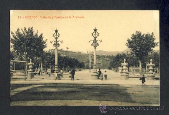 POSTAL DE ORENSE: ENTRADA Y PASEOS DE LA ALAMEDA (THOMAS NUM. 13) (Postales - España - Galicia Antigua (hasta 1939))