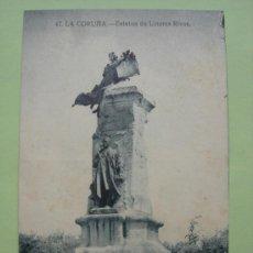 Postales: ESTATUA DE LINARES RIVAS. LA CORUÑA. GRAFOS. MADRID. Lote 38108000