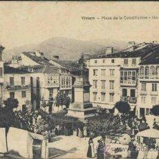 Postales: VIVERO (LUGO).- PLAZA DE LA CONSTITUCION- UN DIA DE MERCADO. Lote 38290454