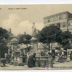 Postales: LA CORUÑA. FUENTE DE SANTA CATALINA. LIBRERÍA DE LINO PÉREZ. MUY ANIMADA. Lote 38909234