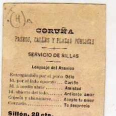 Postales: CROMITO. PUBLICIDAD. CORUÑA. PASEOS, SERVICIO DE SILLAS. LENGUAJE DEL ABANICO.. Lote 38984714