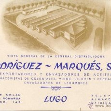 Postales: POSTAL SIN DIVIDIR-TARJETON AÑOS 40/50 COLONIALES ACEITES RODRIGUEZ MARQUES LUGO - GALICIA. Lote 39702757