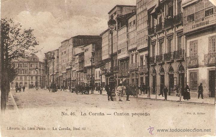 LA CORUÑA Nº 46 CANTON PEQUEÑO LIBRERIA DE LINO PEREZ SIN CIRCULAR (Postales - España - Galicia Antigua (hasta 1939))