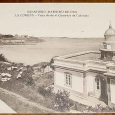 Postales: ANTIGUA POSTAL DE EL SANATORIO MARITIMO DE OZA (LA CORUÑA) VISTA DESDE EL COMEDOR DE COLONIAS - FOTO. Lote 39546912