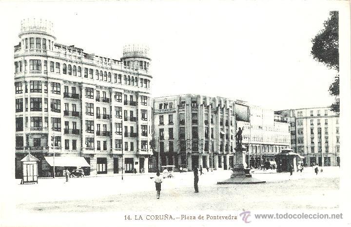 LA CORUÑA Nº14 PLAZA DE PONTEVEDRA L. ROISIN FOTG. SIN CIRCULAR (Postales - España - Galicia Antigua (hasta 1939))