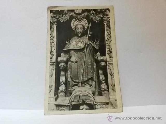 POSTAL SANTIAGO CATEDRAL EFIGIE PÉTREA DEL APOSTOL SANTIAGO. ESCRITA. (Postales - España - Galicia Moderna (desde 1940))