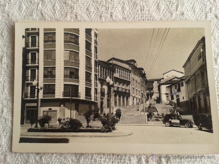 POSTAL DE MONFORTE DE LEMOS. LUGO. PLAZA DE ESPAÑA. AÑOS 60. CIRCULADA (Postales - España - Galicia Moderna (desde 1940))