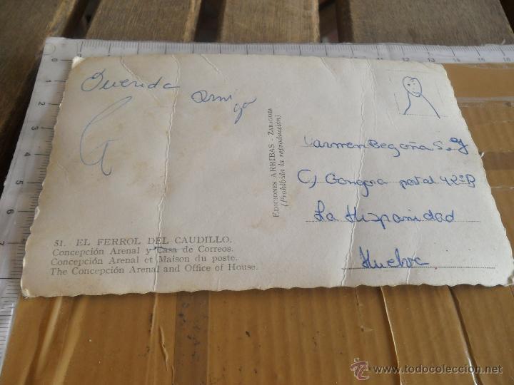 Postales: POSTAL EL FERROL DEL CAUDILLO CONCEPCION ARENAL Y CASA DE CORREOS EDICIONES ARRIBAS - Foto 2 - 42387674