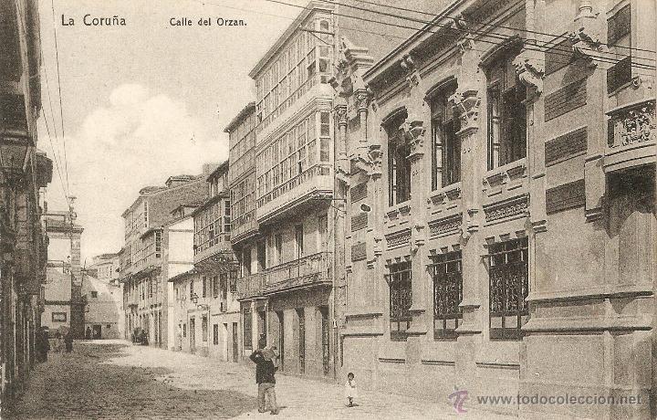 LA CORUÑA - CALLE DEL ORZAN LIBRERÍA DE LINO PÉREZ SIN CIRCULAR (Postales - España - Galicia Antigua (hasta 1939))