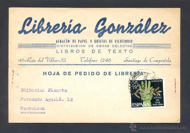 SANTIAGO DE COMPOSTELA *LIBRERIA GONZÁLEZ...* TP COMERCIAL. CIRCULADA 1965. (Postales - España - Galicia Moderna (desde 1940))