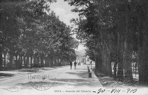 RARISIMA POSTAL DE NOYA NOIA A CORUÑA 1913 - AVENIDA DEL CALVARIO - PHG VALLADOLID (Postales - España - Galicia Antigua (hasta 1939))