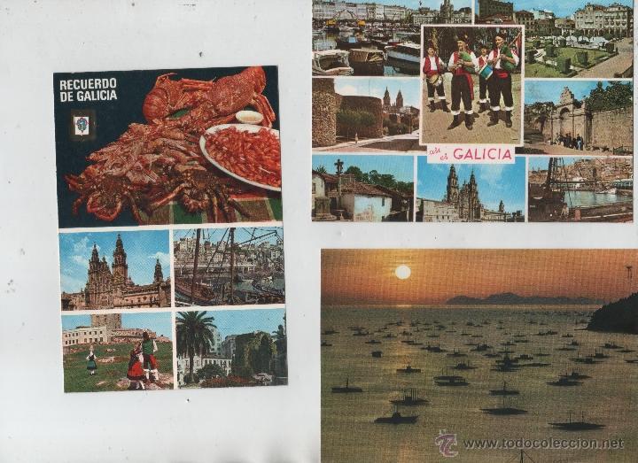 POSTALES-LOTE DE 3 TARJETAS-RECUERDOS DE GALICIA (Postales - España - Galicia Moderna (desde 1940))