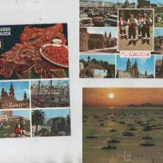 Postales: POSTALES-LOTE DE 3 TARJETAS-RECUERDOS DE GALICIA. Lote 44184971