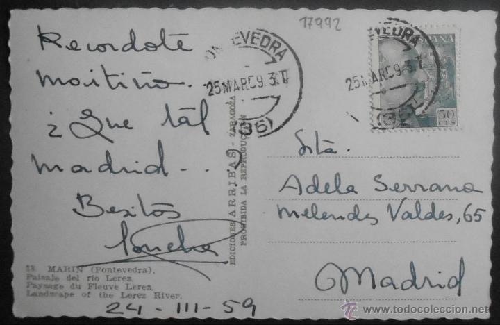 Postales: (17992)POSTAL ESCRITA,PAISAJE DEL RÍO LEREZ,MARIN,PONTEVEDRA,GALICIA,CONSERVACION: - Foto 2 - 44238016