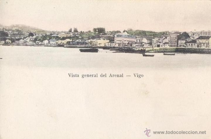 IMPECABLE COSTAL COLOREADA 1910 - VISTA GENERAL DEL ARENAL DE VIGO - DESIDERIO ADE (Postales - España - Galicia Antigua (hasta 1939))
