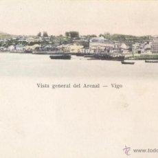 Postales: IMPECABLE COSTAL COLOREADA 1910 - VISTA GENERAL DEL ARENAL DE VIGO - DESIDERIO ADE. Lote 44999378