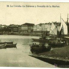 Postales: POSTAL LA CORUÑA LA DARSENA Y AVENIDA DE LA MARINA CIRCULADA 1941 14 X 8,7 CM (APROX). Lote 45145648