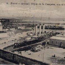 Postales: FERROL (CORUÑA).- ARSENAL. DIQUE DE LA CAMPANA, CON EL CARLOS V. Lote 45275741