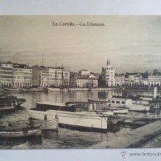 Postcards - ANTIGUA POSTAL LA CORUÑA, LA DARSENA, AÑO 1928, PUBLICIDAD ENRIQUETA COMAS, EXPENDEDURIA DE TABACOS - 45831890