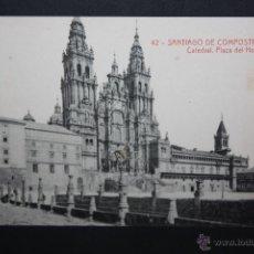 Postales: ANTIGUA POSTAL DE SANTIAGO DE COMPOSTELA. CATEDRAL, PLAZA DEL HOSPITAL. FOTPIA. THOMAS. SIN CIRCULAR. Lote 45919463