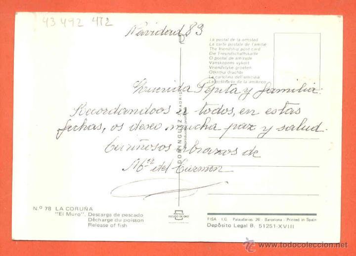Postales: CORUÑA - EL MURO - DESCARGA DE PESCADO - Foto 2 - 46255042