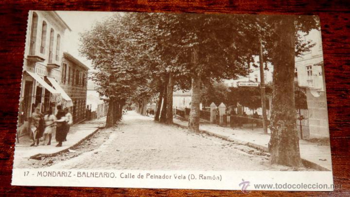 POSTAL DEL BALNEARIO DE MONDARIZ, PONTEVEDRA, N. 17, CALLE DE PEINADOR VELA, FOT. THOMAS, NO CIRCULA (Postales - España - Galicia Antigua (hasta 1939))