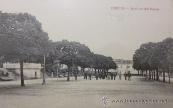 RARISIMA POSTAL DE ORENSE - OURENSE JARDINES DEL PASEO COMIENZOS DEL SIGLO XX (Postales - España - Galicia Antigua (hasta 1939))